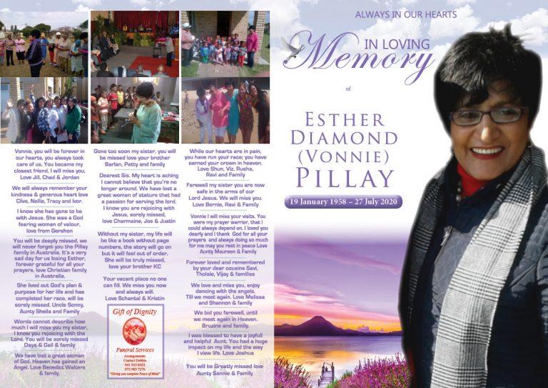Funeral program of Esther Pillay